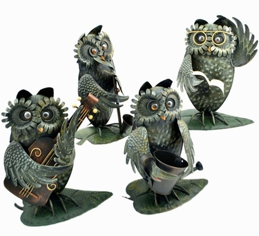 Metal Owl Musicians Decor (Set of 4) - Click to enlarge