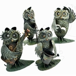 Metal Owl Musicians Decor (Set of 4)