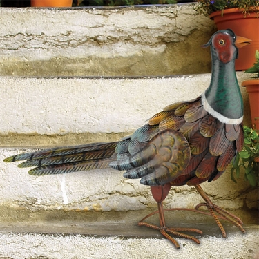 Metal Pheasant Bird Standing - Click to enlarge