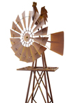 Metal Rooster Windmill