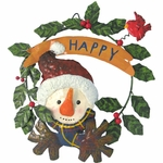 Metal Snowman Door Hanger Wreath