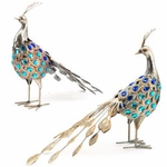 Metallic Silver Pheasant Birds (Set of 2)