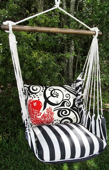 Ticking Black Single Koi Hammock Chair Swing Set - Click to enlarge