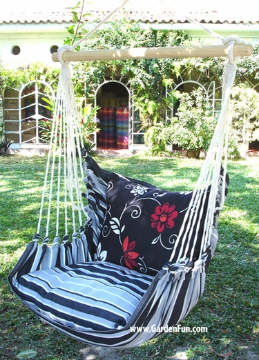 Metropolitan Summer Toile Flower Hammock Chair Swing Set - Click to enlarge