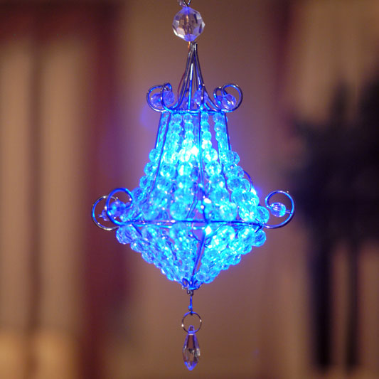 Mini chandelier led light blue set of 2 only 2899 at garden fun aloadofball Image collections