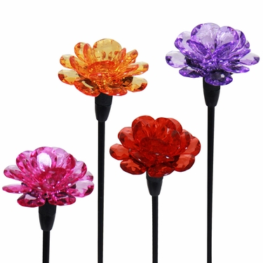Mini Solar Flower Stakes (Set of 4) - Click to enlarge