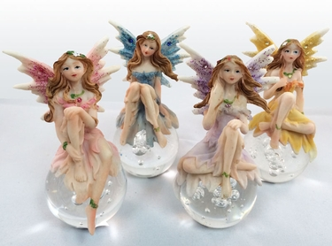 Miniature Fairy w/Gazing Ball (Set of 4) - Click to enlarge