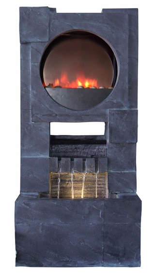 Modern Zen LED Fire & Water Fountain - Click to enlarge