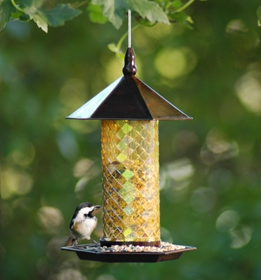 Mosaic Glass Tile Bird Feeder by Exhart - Click to enlarge