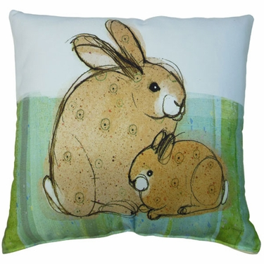 Mother & Baby Rabbit Outdoor Pillow - Click to enlarge