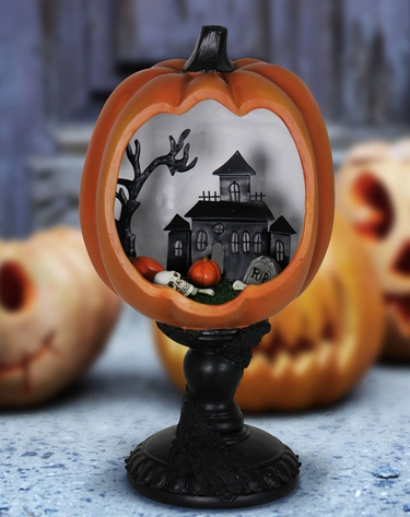 Mounted Pumpkin w/LED Mansion Scene - Click to enlarge