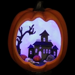 Mounted Pumpkin w/LED Mansion Scene