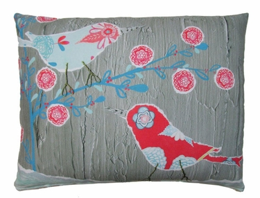Nature Doodle Birds Outdoor Pillow - Click to enlarge