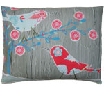 Nature Doodle Birds Outdoor Pillow