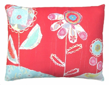 Nature Doodle Flowers Outdoor Pillow - Click to enlarge