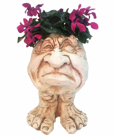 Ole Grumpy Face Planter - Antique Finish - Click to enlarge