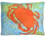 Orange Dungeness  Crab Outdoor Pillow