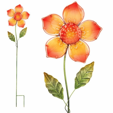 Orange Glass Flower Stake - Click to enlarge