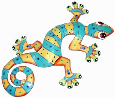 Orange Turquoise Gecko Wall Decor - Click to enlarge