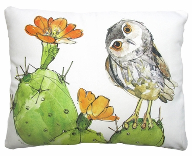 Owl on Prickly Pear Cactus Outdoor Pillow - Click to enlarge
