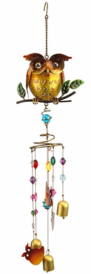Golden Owl Wind Chime w/Jewels - Click to enlarge