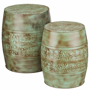 Patina Flower Garden Stools & Planters (Set of 2) - Click to enlarge
