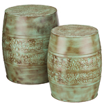 Patina Flower Garden Stools & Planters (Set of 2)