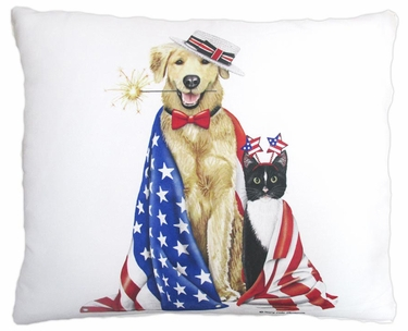 Patriotic Dog & Cat Outdoor Pillow - Click to enlarge