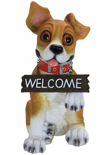 Paw Shaking Dog w/Welcome Sign - Click to enlarge