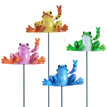 Peace Frog Garden Stakes (Set of 6) - Click to enlarge