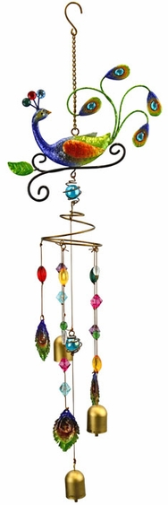 Peacock Wind Chime w/Jewels - Click to enlarge