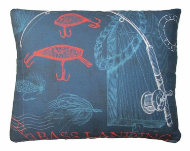Pier 45 Fishing Rods Blue Outdoor Pillow - Click to enlarge