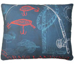 Pier 45 Fishing Rods Blue Outdoor Pillow