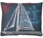 Pier 45 Sailboat Blue Outdoor Pillow