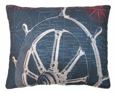 Pier 45 Sailboat Wheel Blue Outdoor Pillow - Click to enlarge