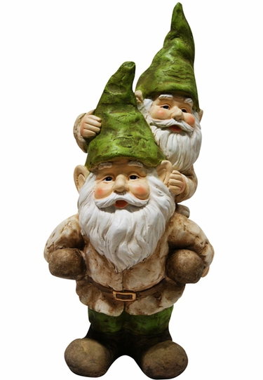 Piggyback Gnomes Statue - Click to enlarge