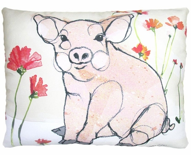 Piglet with Poppies Outdoor Pillow - Click to enlarge