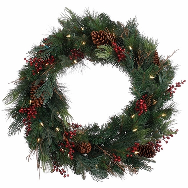 Pine Cone Berry LED Wreath - Click to enlarge