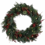 Pine Cone Berry LED Wreath