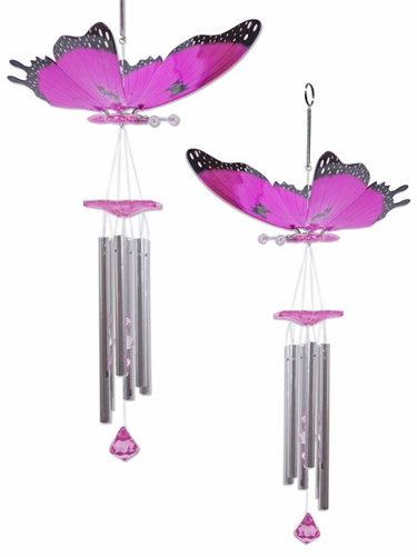 Pink Butterfly Wind Chimes (Set of 2) - Click to enlarge