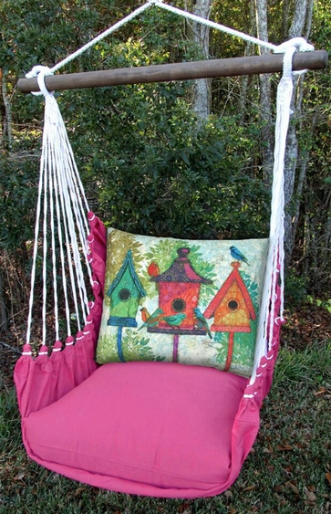 pink birdhouses hammock chair swing
