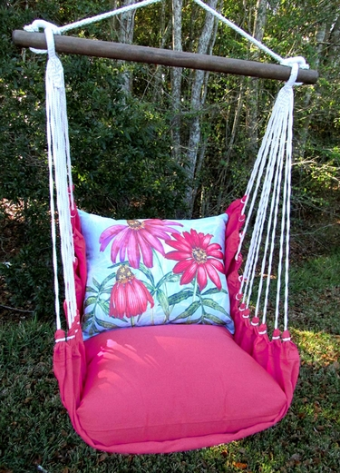 Pink Coneflowers Hammock Chair Swing Set - Click to enlarge