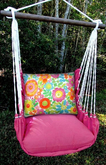 Pink Flowers All Over Hammock Chair Swing Set - Click to enlarge