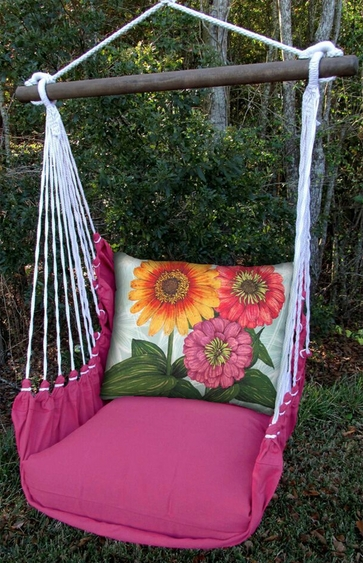 Pink Garden Zinnias Hammock Chair Swing Set - Click to enlarge
