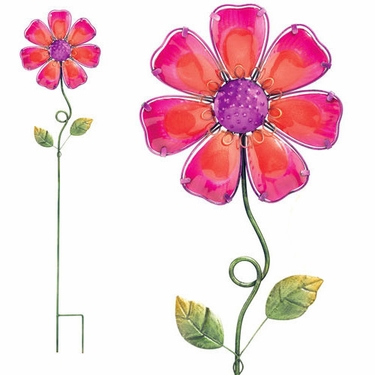 Pink Glass Flower Stake - Click to enlarge