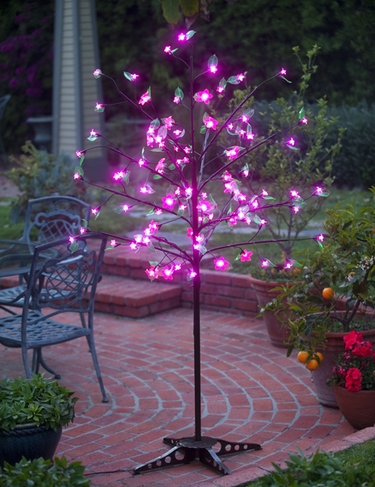 Pink LED Cherry Blossom Tree w/Leaves! - Click to enlarge