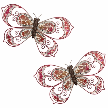 Pink Mosaic Wall Butterflies (Set of 2) - Click to enlarge