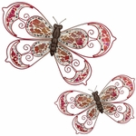 Pink Mosaic Wall Butterflies (Set of 2)