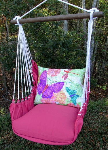 Pink Nature Butterflies Hammock Chair Swing Set - Click to enlarge
