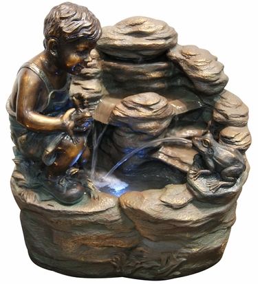 Playful Frogs Outdoor Fountain w/LED Lights - Click to enlarge